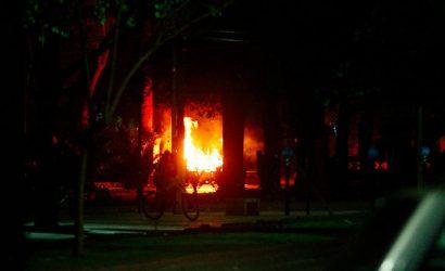 Graves disturbios y daños provocaron desconocidos en la Alameda de Curicó