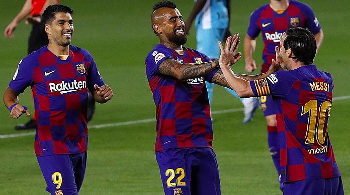 Con un Vidal muy activo, el Barcelona venció al Leganés y aseguró el liderato por otra fecha más en España