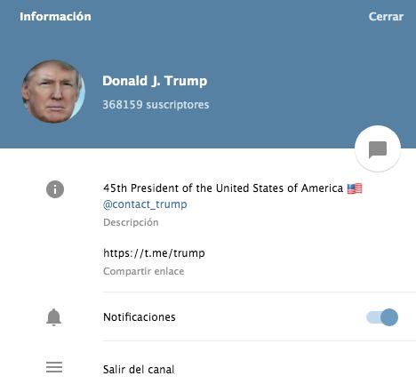 Donald Trump tiene dos canales en Telegram y en uno de ellos recomienda seguir a otros que pueden ir revelando informaciones importantes