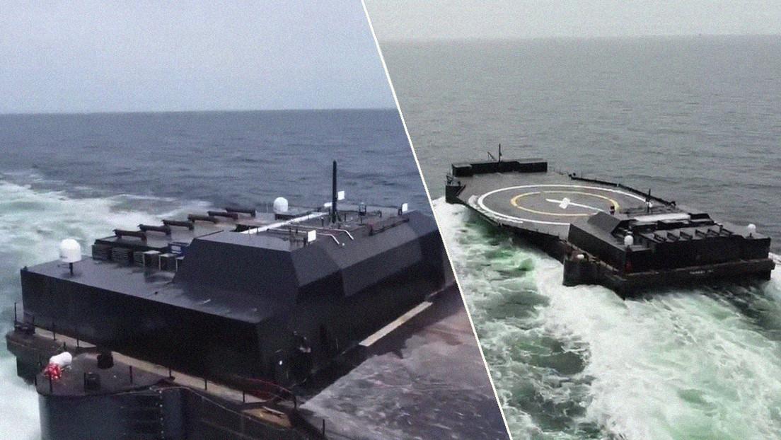 Musk muestra la nueva plataforma robótica de SpaceX para aterrizaje de cohetes en el mar